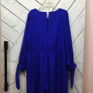Eloquii Cobalt Blue Long Sleeve Jumpsuit